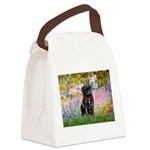 Garden / Black Pug Canvas Lunch Bag
