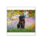 Garden / Black Pug Square Sticker 3