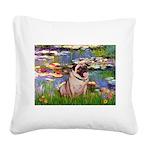 Lilies (#2)/Pug (#2) Square Canvas Pillow