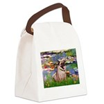 Lilies (#2)/Pug (#2) Canvas Lunch Bag