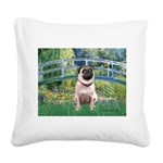 Bridge / Pug Square Canvas Pillow