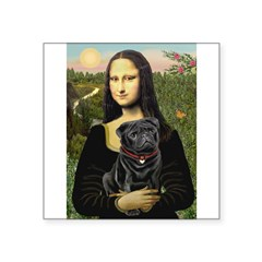 "Mona's Black Pug Square Sticker 3"" x 3"""