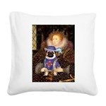 The Queen & Sir Pug Square Canvas Pillow
