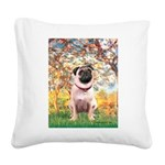 Spring / Pug Square Canvas Pillow