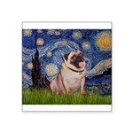 Starry Night and Pug Square Sticker 3