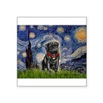 Starry Night / Black Pug Square Sticker 3