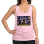 Starry Night / Black Pug Racerback Tank Top
