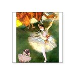 Dancer 1 & fawn Pug Square Sticker 3