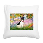 Garden / Rat Terrier Square Canvas Pillow