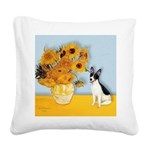Sunflowers / Rat Terrier Square Canvas Pillow