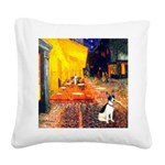 Cafe / Rat Terrier Square Canvas Pillow