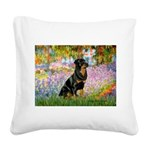 Garden / Rottweiler Square Canvas Pillow
