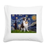 Starry / Saint Bernard Square Canvas Pillow