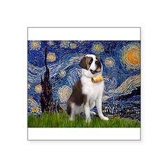 "Starry / Saint Bernard Square Sticker 3"" x 3"""