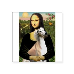 "Mona Lisa (new) & Saluki Square Sticker 3"" x 3"""