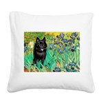 Irises / Schipperke #2 Square Canvas Pillow