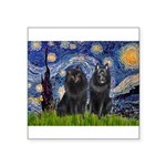 Starry Night & Schipperke Square Sticker 3