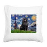 Starry / Schipperke #2 Square Canvas Pillow