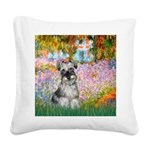 Garden / Miniature Schnauzer Square Canvas Pillow