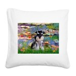 Lilies (#2)/Schnauzer Pup Square Canvas Pillow