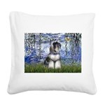 Lilies (#6) & Schnauzer #7 Square Canvas Pillow
