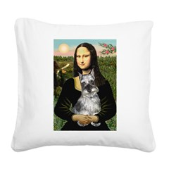 Mona Lisa's Schnauzer (#1) Square Canvas Pillow