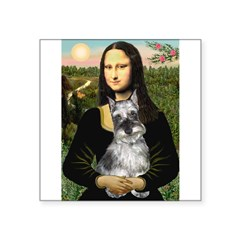 "Mona Lisa's Schnauzer (#1) Square Sticker 3"" x 3"""