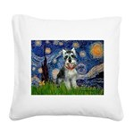 Starry Night /Schnauzer(#8) Square Canvas Pillow
