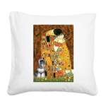 Kiss / Schnauzer (#7) Square Canvas Pillow