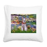 Lilies / M Schnauzer Square Canvas Pillow