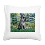 Lily Pond Bridge/Giant Schnau Square Canvas Pillow