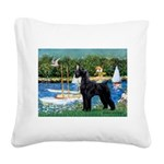 SCHNAUZER & SAILBOATS Square Canvas Pillow