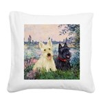 Seine / Scotties (b&w) Square Canvas Pillow