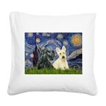 Starry /Scotty pair Square Canvas Pillow
