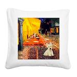 Cafe / Scottie (w) Square Canvas Pillow