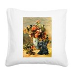 Vase / Scottie (blk) Square Canvas Pillow