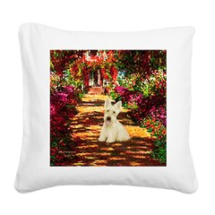 Path / Scottie (w) Square Canvas Pillow
