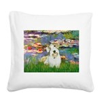 Lilies (#2)/Sealyham L2 Square Canvas Pillow