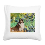 Irises / Sheltie Square Canvas Pillow