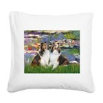 Lilies #2 / Two Shelties Square Canvas Pillow