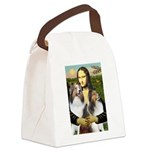 Mona Lisa / 2 Shelties (DL) Canvas Lunch Bag