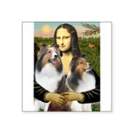 Mona Lisa / 2 Shelties (DL) Square Sticker 3