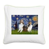 Starry / Two Shelties (D&L) Square Canvas Pillow