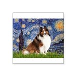 Starry Night / Sheltie (s&w) Square Sticker 3