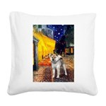 Cafe - Shiba Inu (std) Square Canvas Pillow