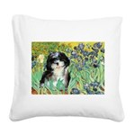 Irises / Shih Tzu #12 Square Canvas Pillow