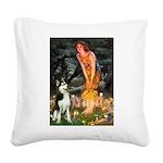 Mid.Eve / Siberian Husky Square Canvas Pillow