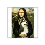 Mona Lisa & Siberian Husky Square Sticker 3