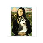 Mona Lisa & Siberian Husky Square Sticker 3