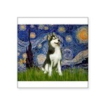 Starry Night & Husky Square Sticker 3